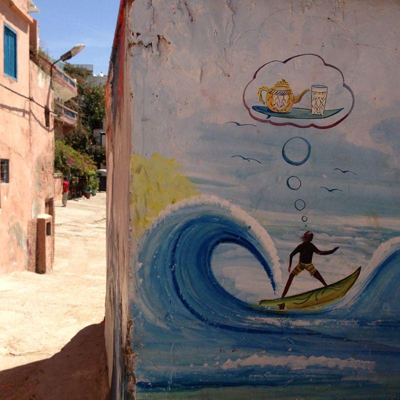 Principal portada costa Atlántica Sur. Grafiti en un pueblo de Marruecos.